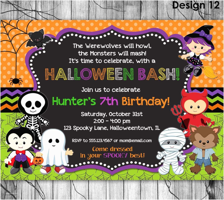 Halloween Birthday Invitations Halloween Birthday Invitation Printable Kids Halloween Party