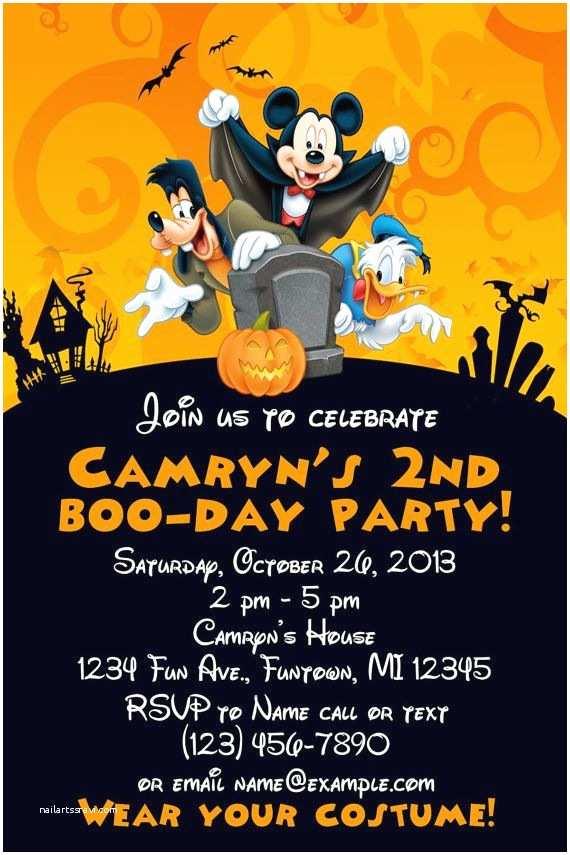 Halloween Birthday Party Invitations Mickey Mouse Halloween Birthday Invitation