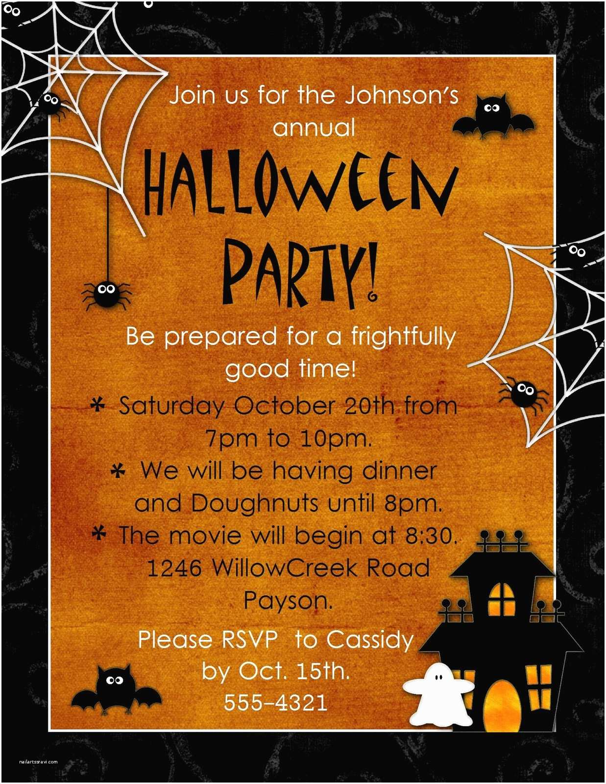 Halloween Party Invitation Template Halloween Invitation Backgrounds – Festival Collections
