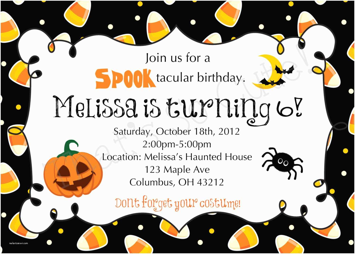 Halloween Party Invitation Template Halloween themed Birthday Party Invitations