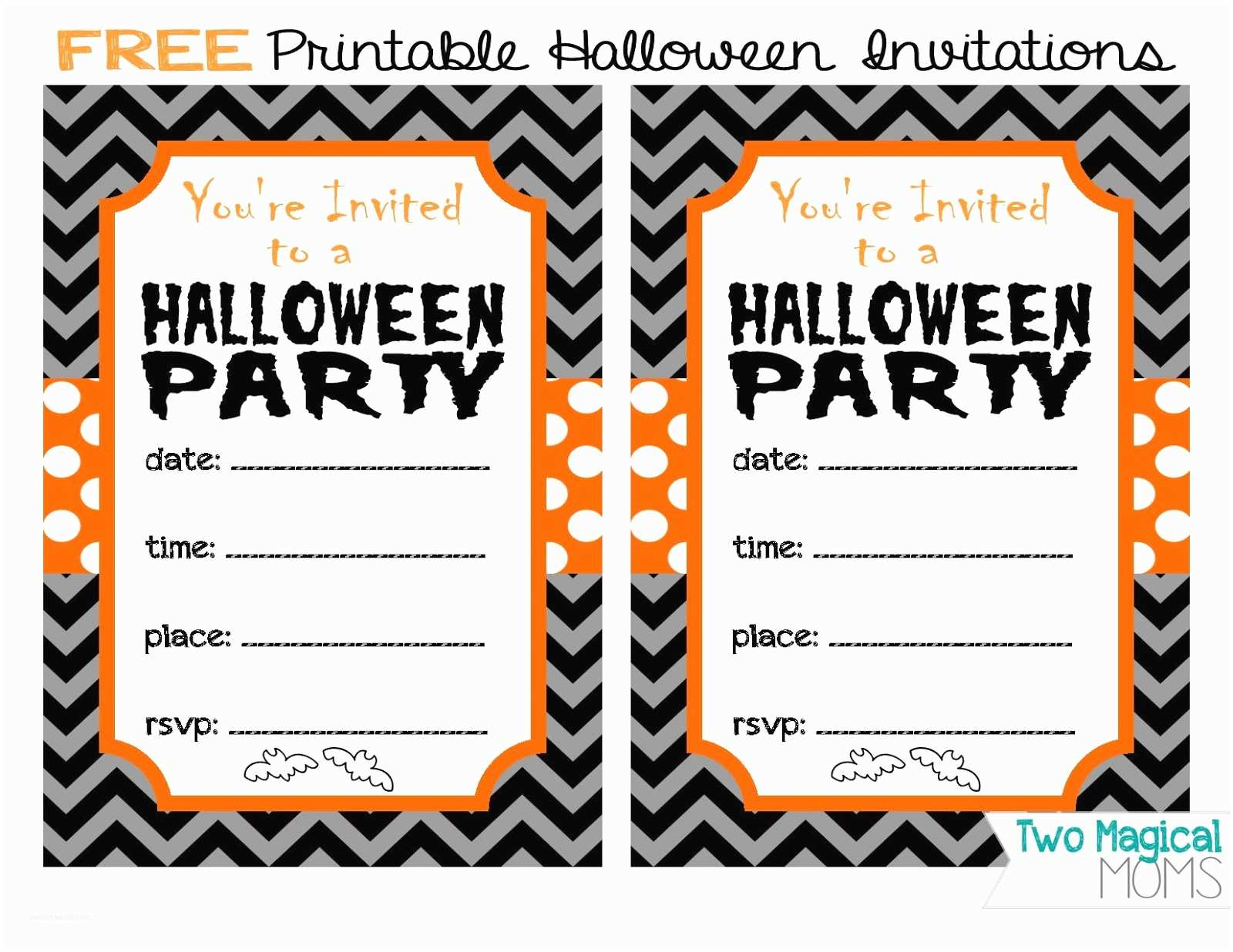 Halloween Party Invitation Template Two Magical Moms Free Printable Halloween Invitations