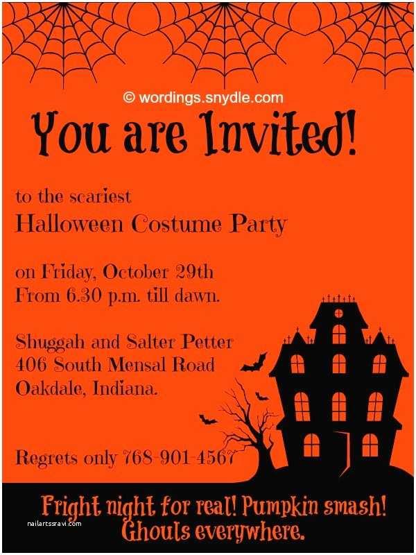 Halloween Party Invitation Wording Halloween Party Invitation Wording Wordings and Messages