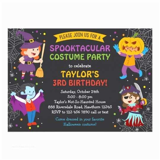Halloween Party Invitations Halloween Birthday Invitation Costume Party Kids Card