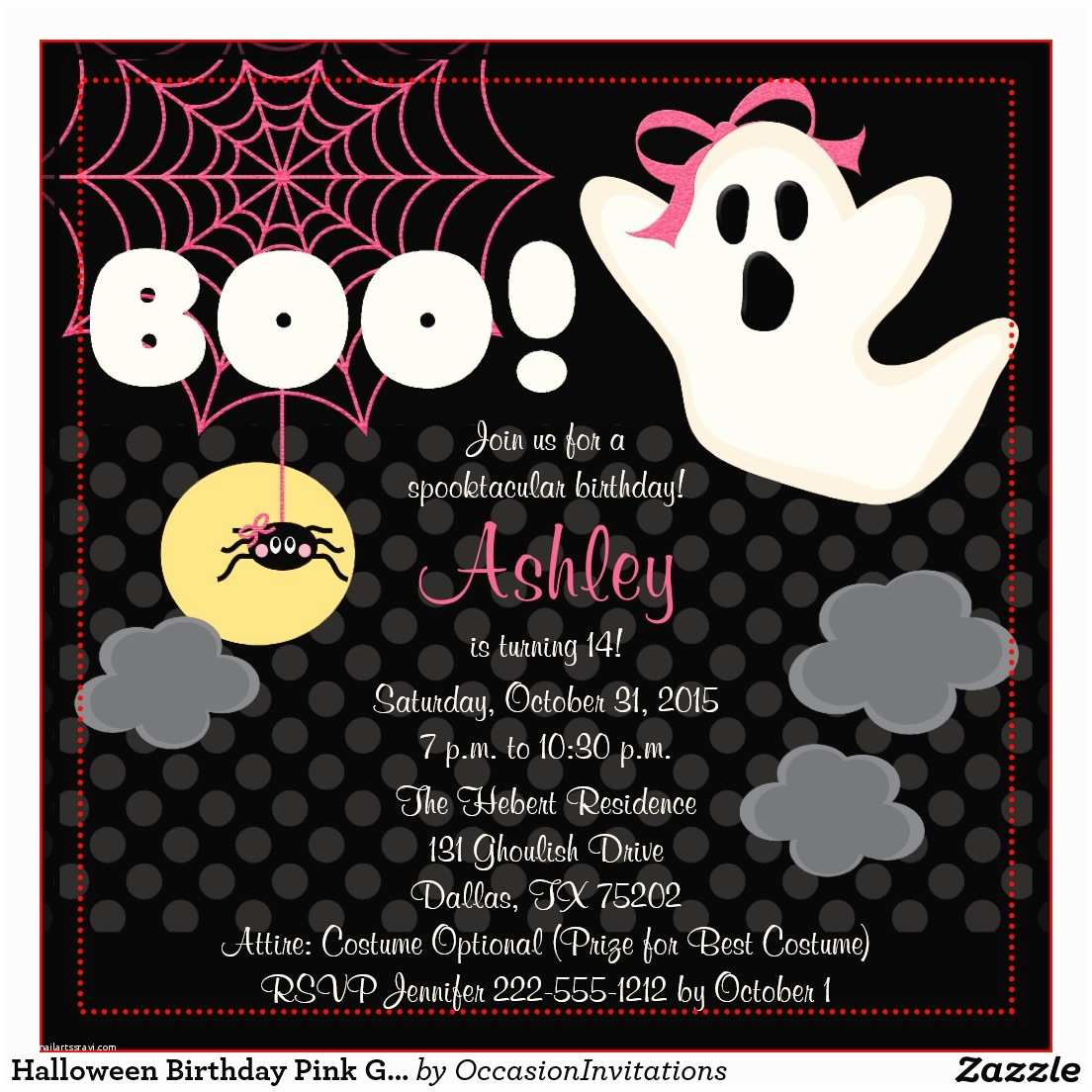halloween themed birthday party invitations