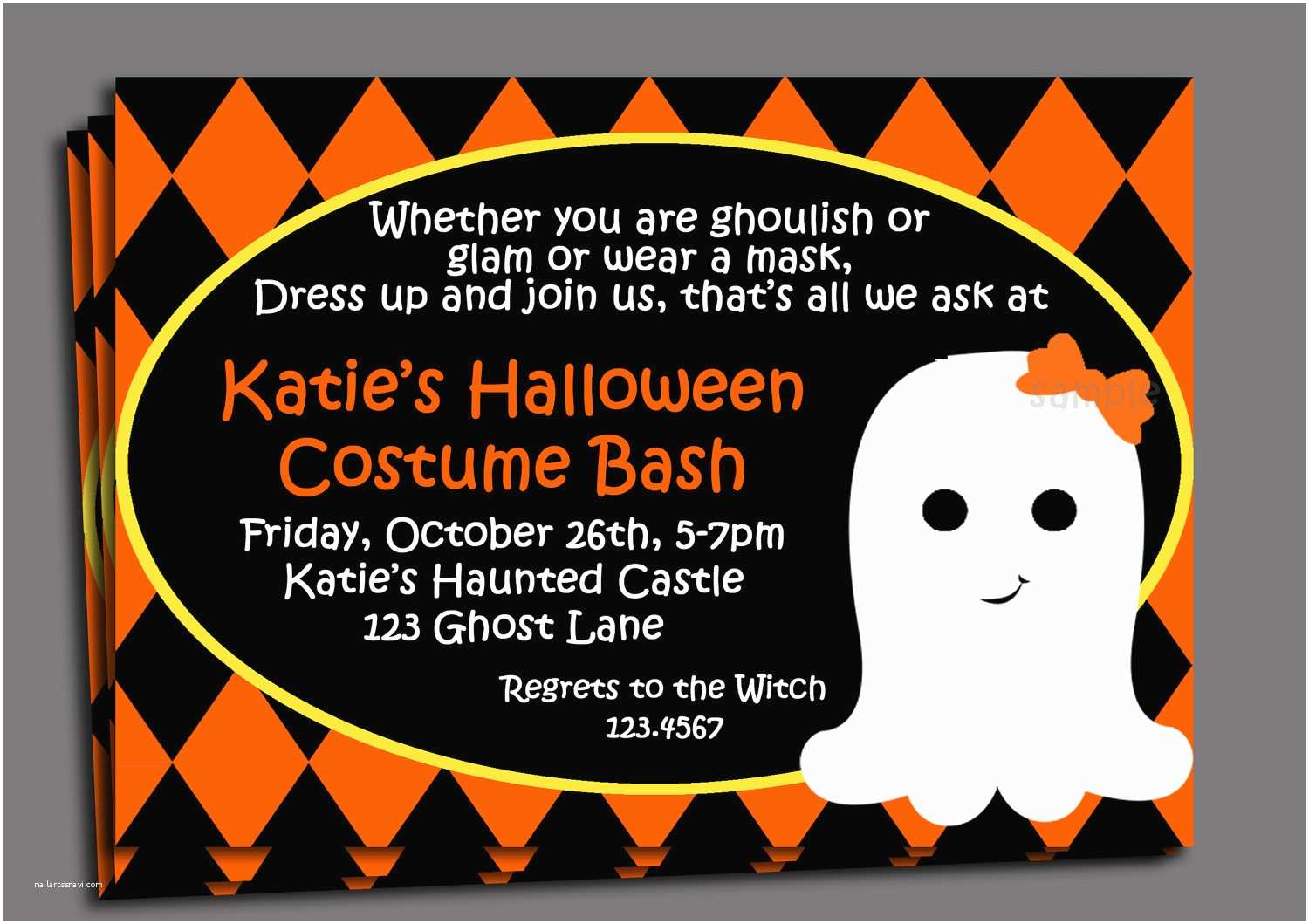 Halloween Party Invite Wording Halloween Kid S Costume Party Invitation Printable or