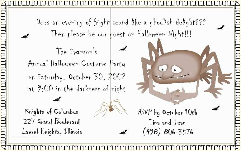 Halloween Party Invite Wording Halloween Party Invitation Wording