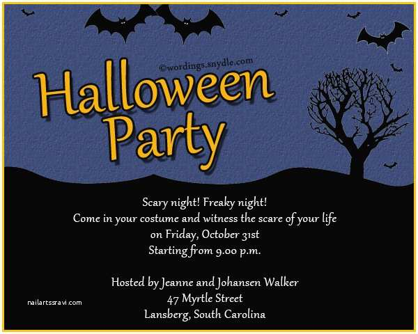 Halloween Party Invite Wording Halloween Party Invitation Wording Wordings and Messages