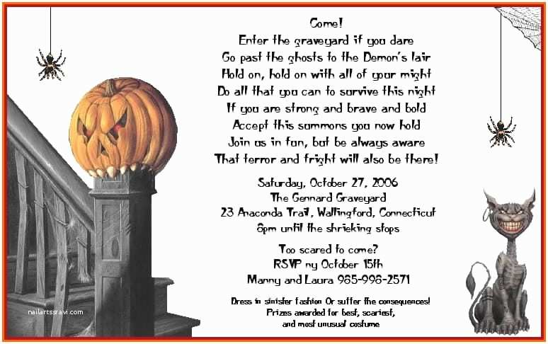 Halloween Party Invite Wording Scary Halloween Party Invitation Template