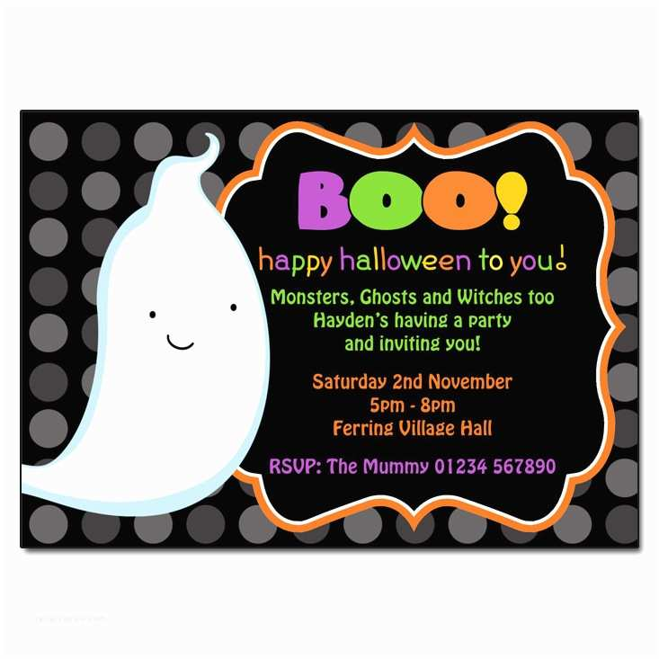 Halloween themed Birthday Party Invitations Boo Halloween Invitations