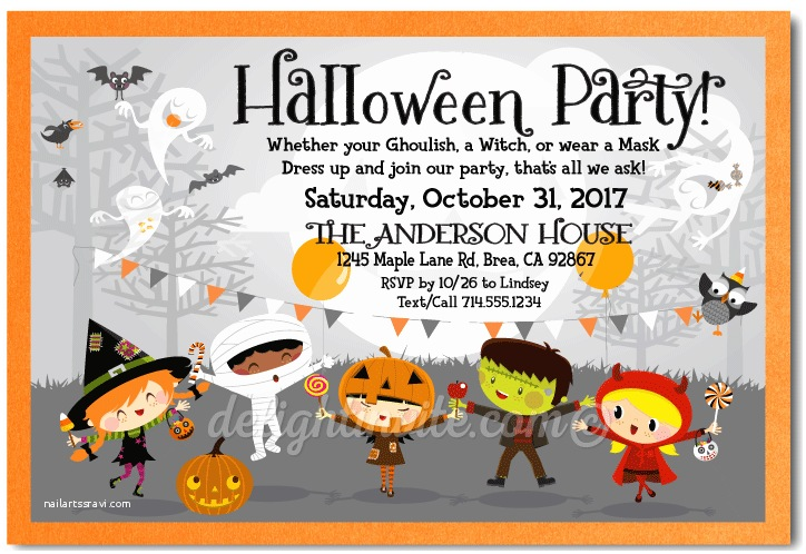 Halloween themed Birthday Party Invitations Child Friendly Costume Halloween Party Invitations
