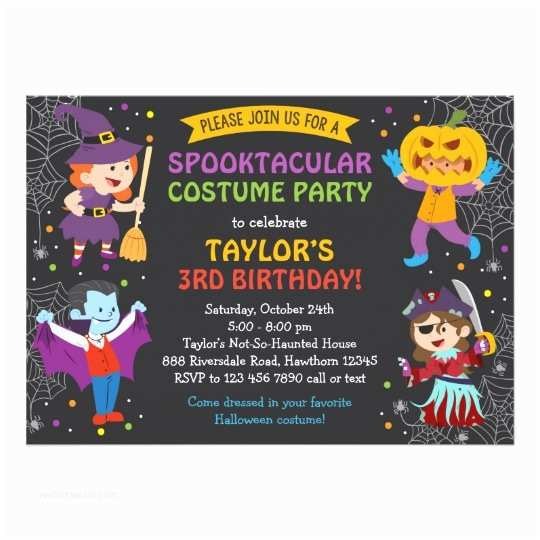 Halloween themed Birthday Party Invitations Halloween Birthday Invitation Costume Party Kids Card