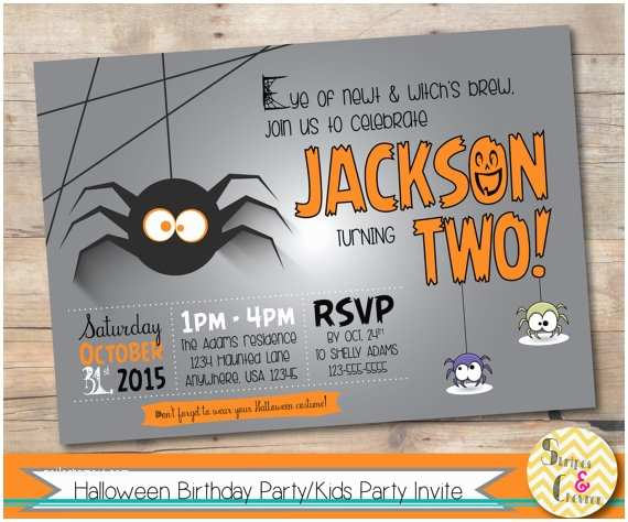 Halloween themed Birthday Party Invitations Halloween Birthday Party Invitation Halloween theme 1st