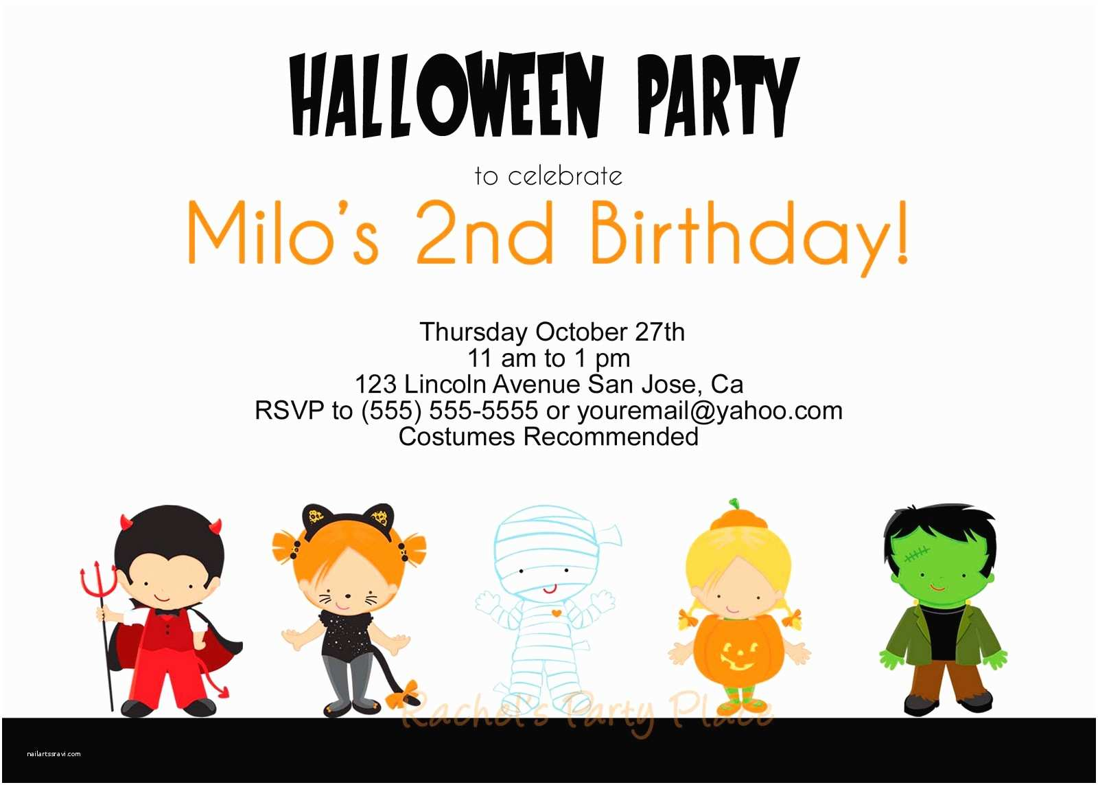 Halloween themed Birthday Party Invitations Halloween Birthday Party Invitations