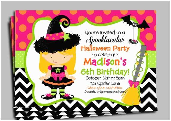 Halloween themed Birthday Party Invitations Halloween Invitation Printable or Printed with Free