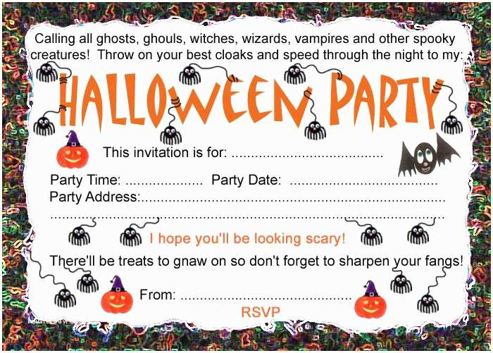 Halloween themed Birthday Party Invitations Halloween Party Invitation