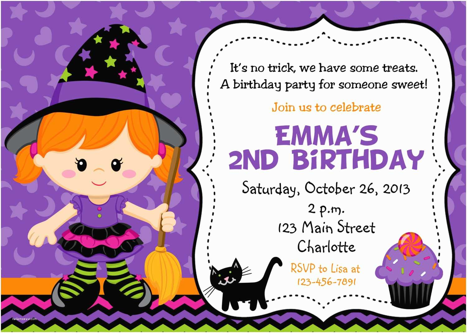 Halloween themed Birthday Party Invitations Halloween Party Invitation Purple Witch Halloween