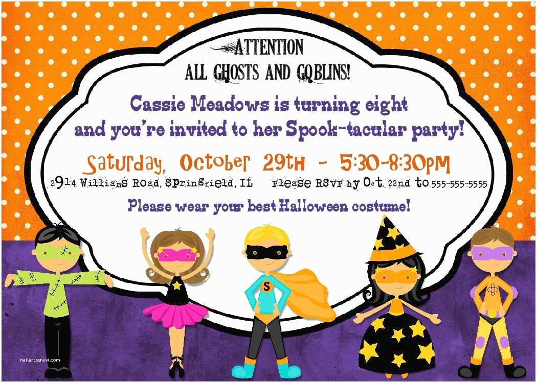 Halloween themed Birthday Party Invitations Halloween Party Printable Birthday Invitations