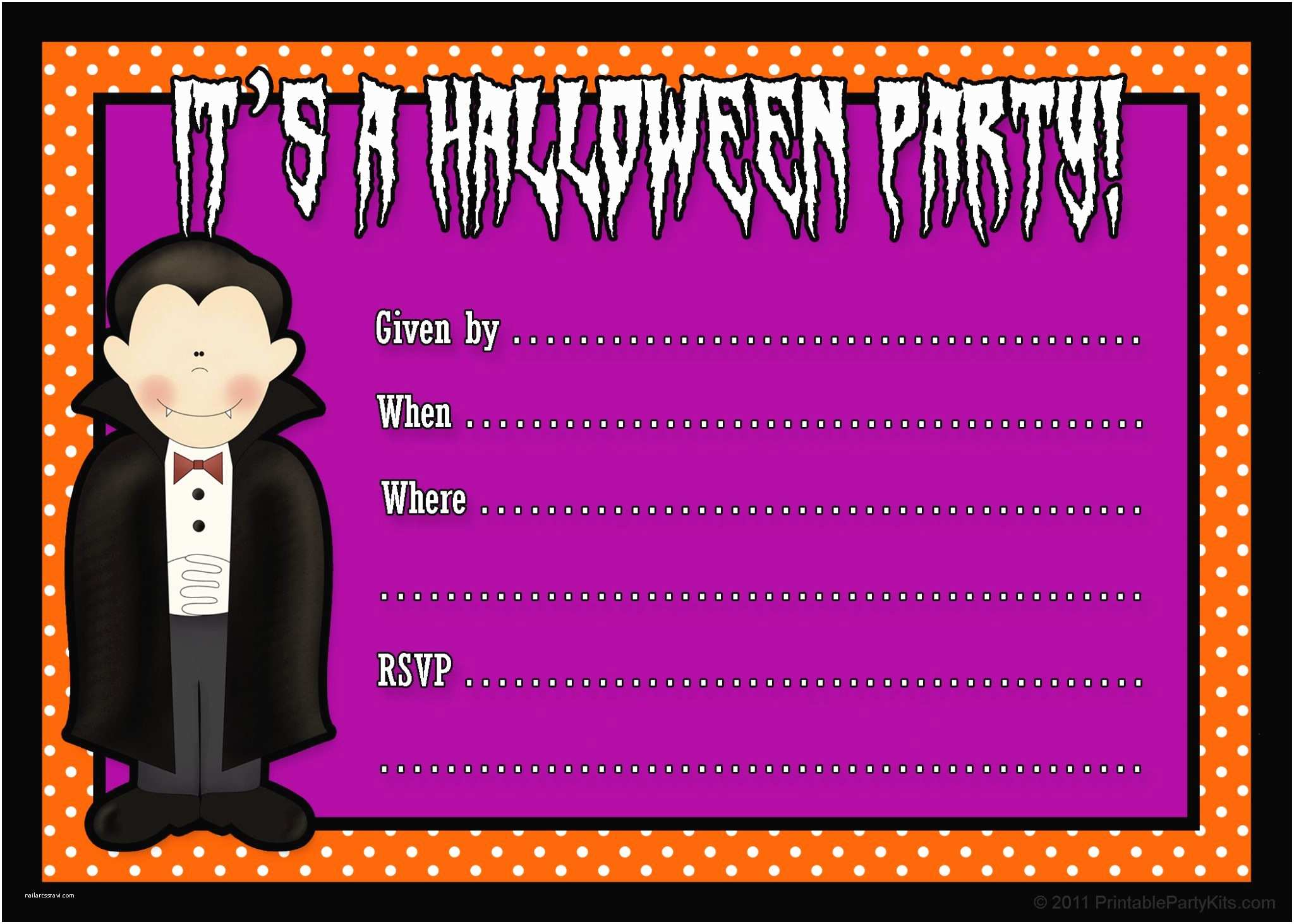 Halloween themed Birthday Party Invitations Invitations