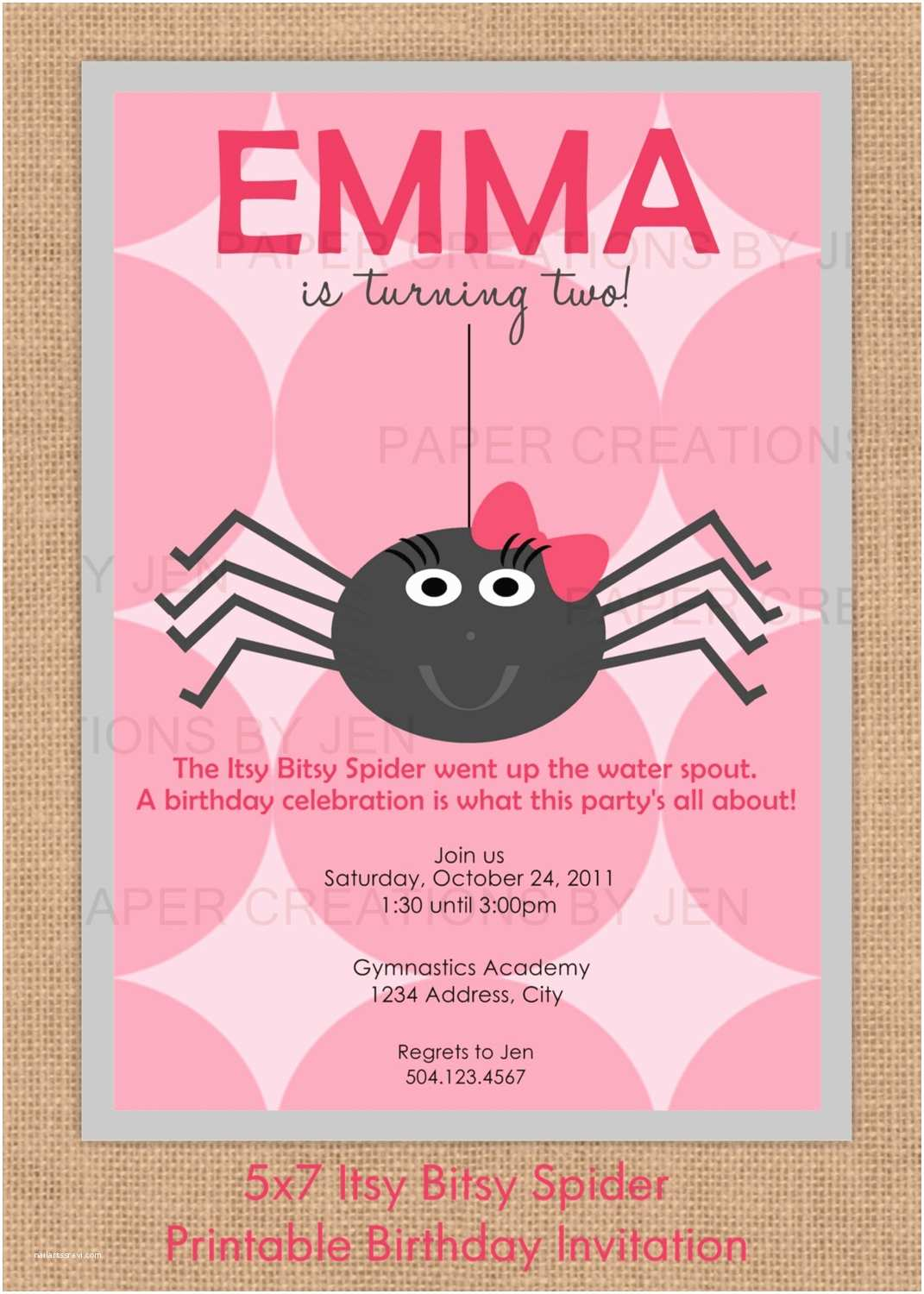 Halloween themed Birthday Party Invitations Itsy Bitsy Spider Birthday Halloween Printable Invitation