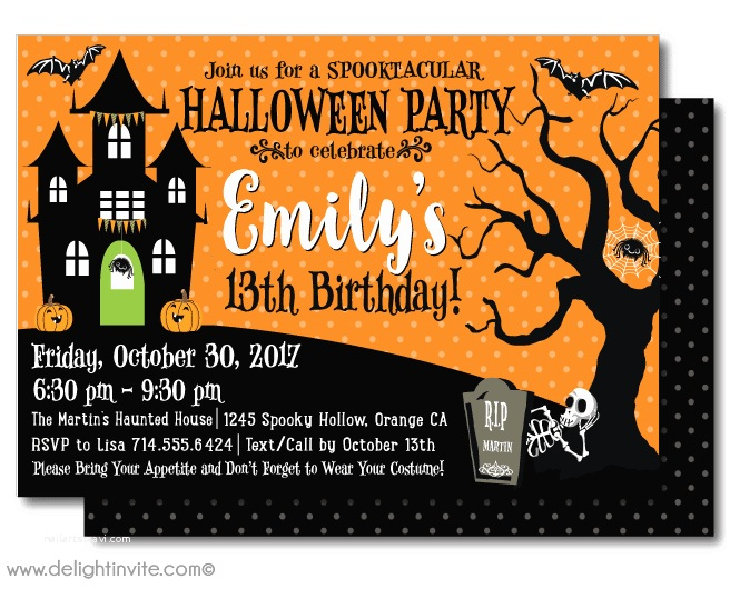 Halloween themed Birthday Party Invitations Kid Friendly Halloween Birthday Invitations Non Scary