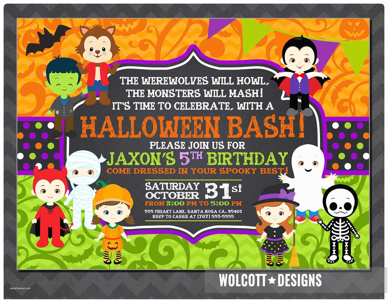 Halloween themed Birthday Party Invitations Kid Halloween Party Invitations Oxyline Fb7a9a4fbe37