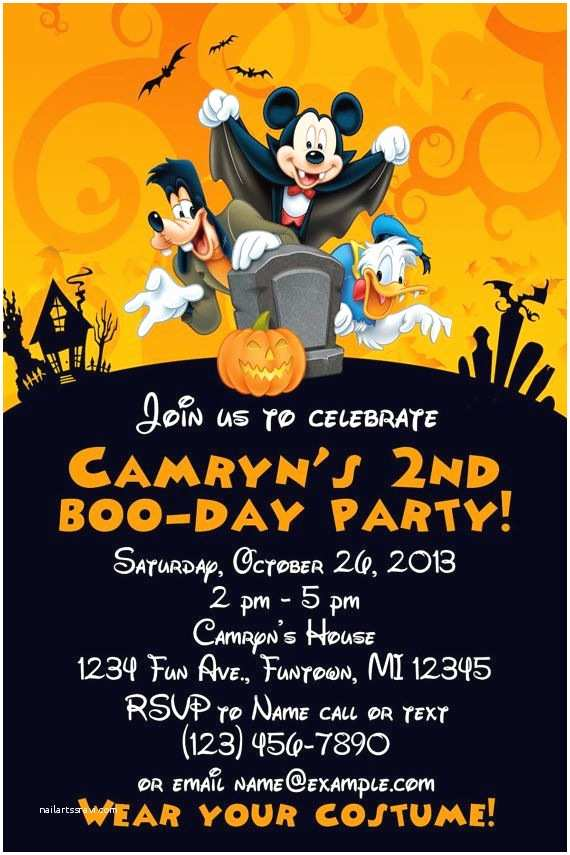 Halloween themed Birthday Party Invitations Mickey Mouse Halloween Birthday Invitation