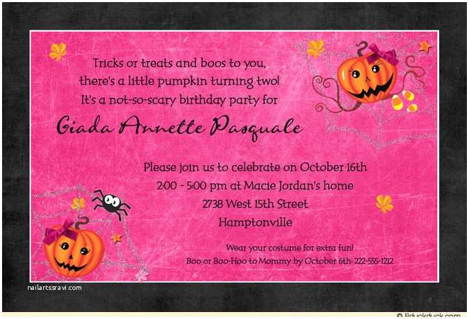Halloween themed Birthday Party Invitations Trick or Treat Halloween Girl Birthday Card Cute Boos Style
