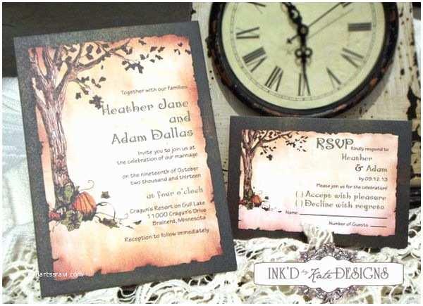 Halloween Wedding Invitations Halloween Inspired Wedding Invitations for Autumn Weddings