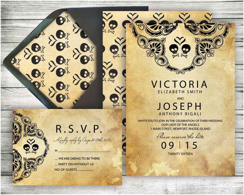 halloween wedding invitation rsvp set