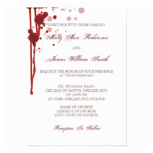 "Halloween Wedding Invitations Vampire Halloween Wedding Fake Blood Red 4 5"" X 6 25"