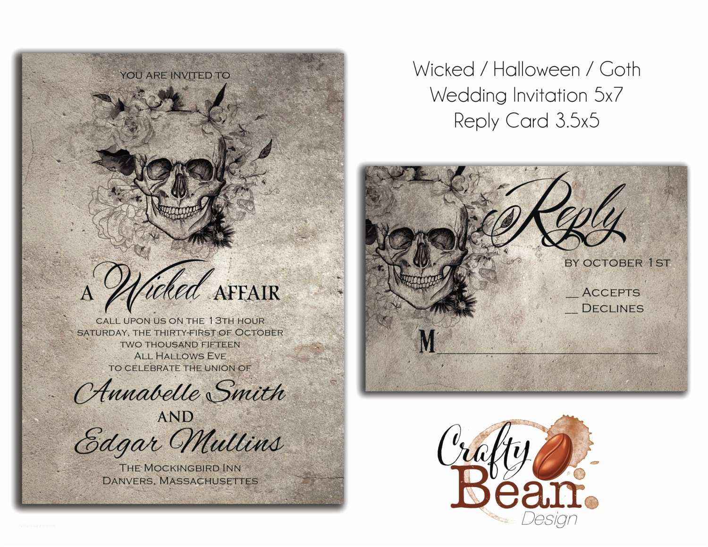 Halloween Wedding Invitations Wicked Halloween Horror Gothic Wedding Invitation Diy