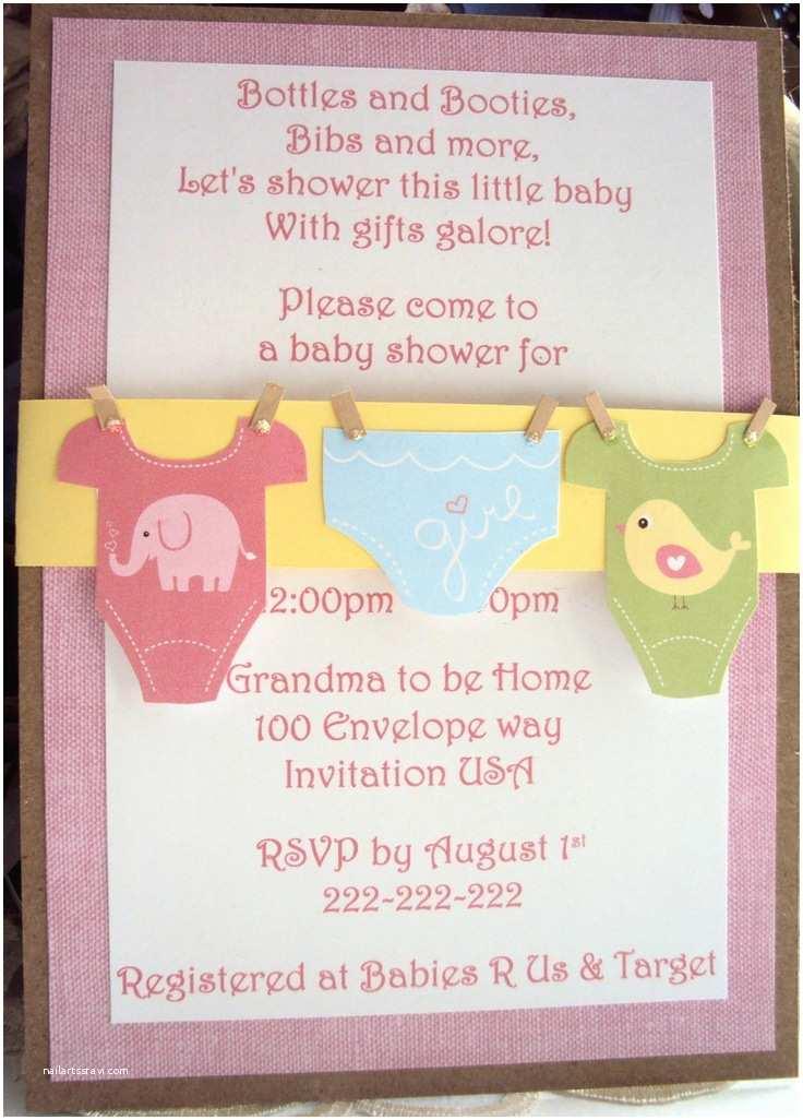 Handmade Baby Shower Invitations Baby Shower Invitation Esie Invitation