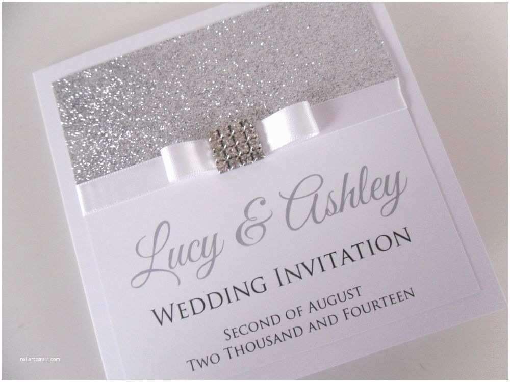 "Handmade Wedding Invitations Handmade Personalised ""madison Square"" Glitter Sparkly"