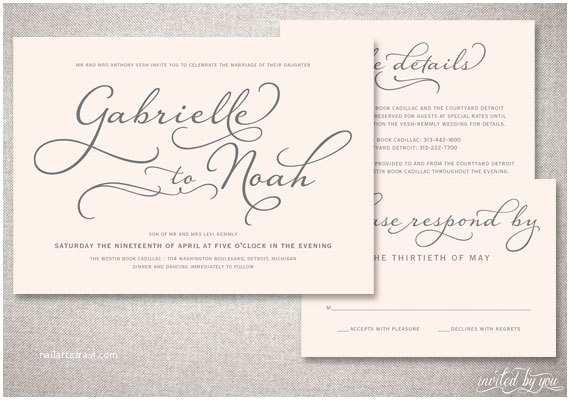 "Handwritten Wedding Invitations Beautiful Script ""gabrielle"" Wedding Invitations Suite"