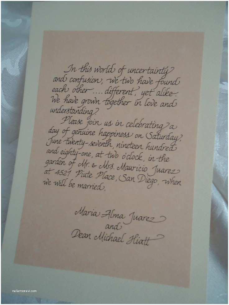 Handwritten Wedding Invitations Handwritten Wedding Invitation Calligraphy