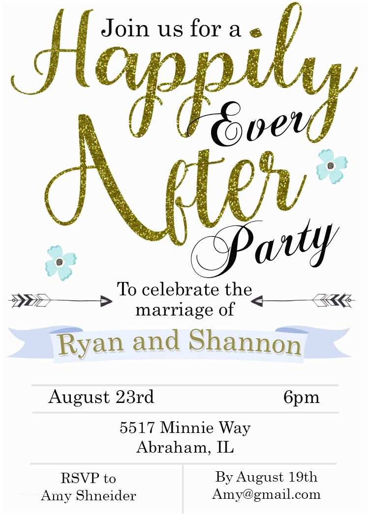 Happily Ever after Party Invitations Elopement Party Invitations Reception Ly Invitations