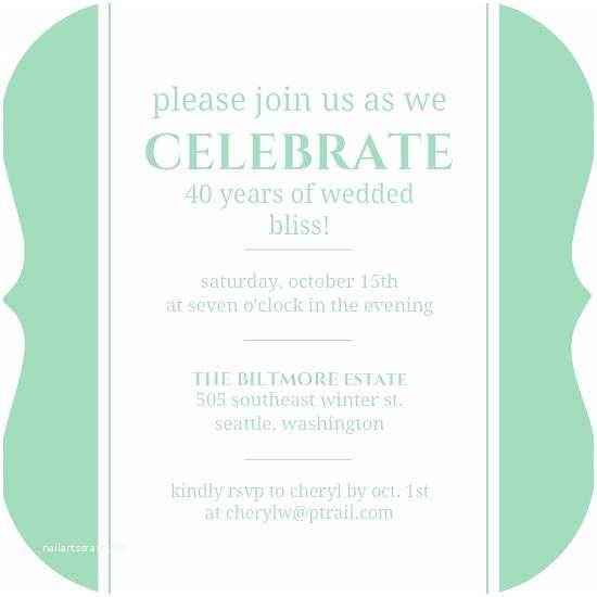 Happily Ever after Party Invitations Green 40th Anniversary Happily Ever after Anniversary