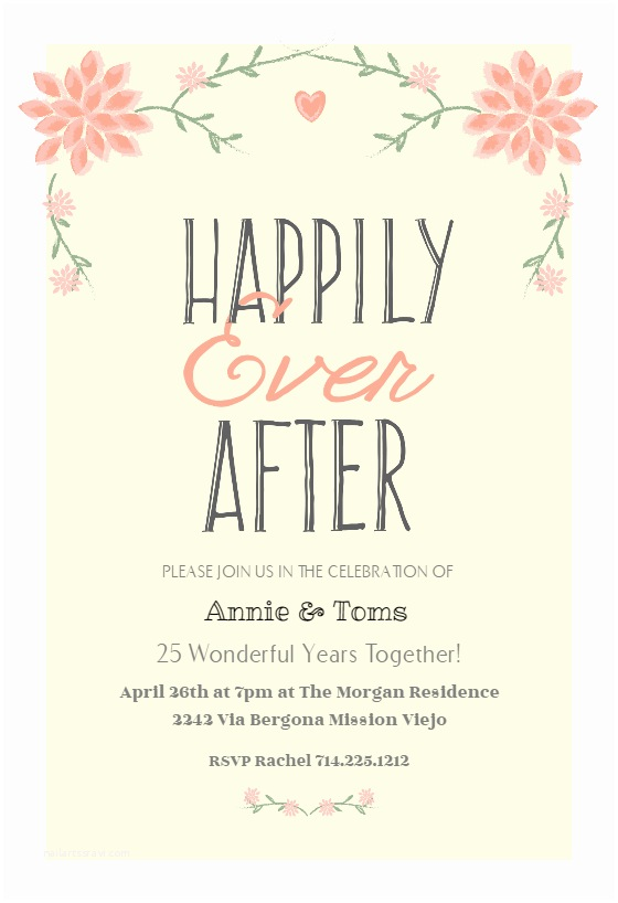 Happily Ever after Party Invitations Happily Ever after Free Anniversary Invitation Template