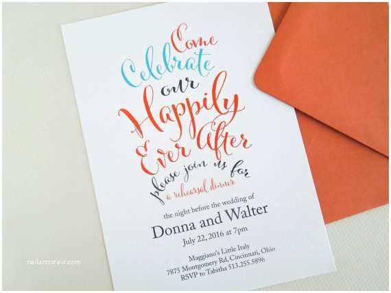 Happily Ever after Party Invitations Rehearsal Dinner Invitation Happily Ever after by Invitedtoo