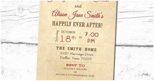 Happily Ever after Party Invitations Vintage Rustic Happily Ever after Invitation Perfect for