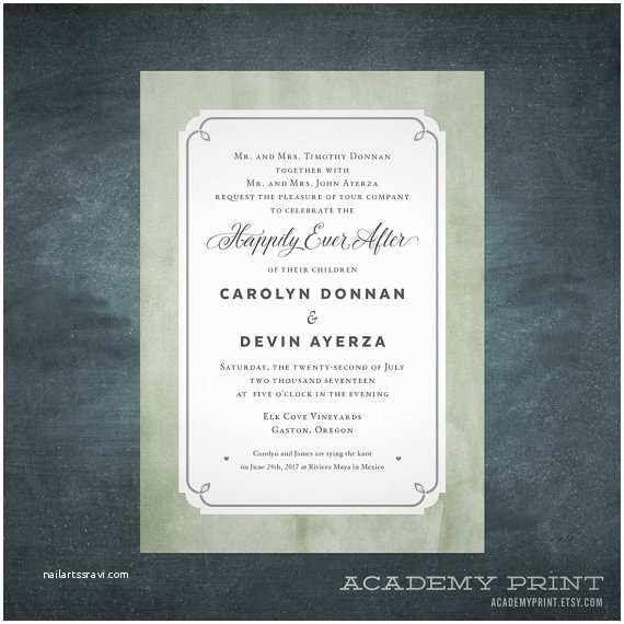Happily Ever After Wedding Invitations Happily Ever After Wedding Invitation Watercolor