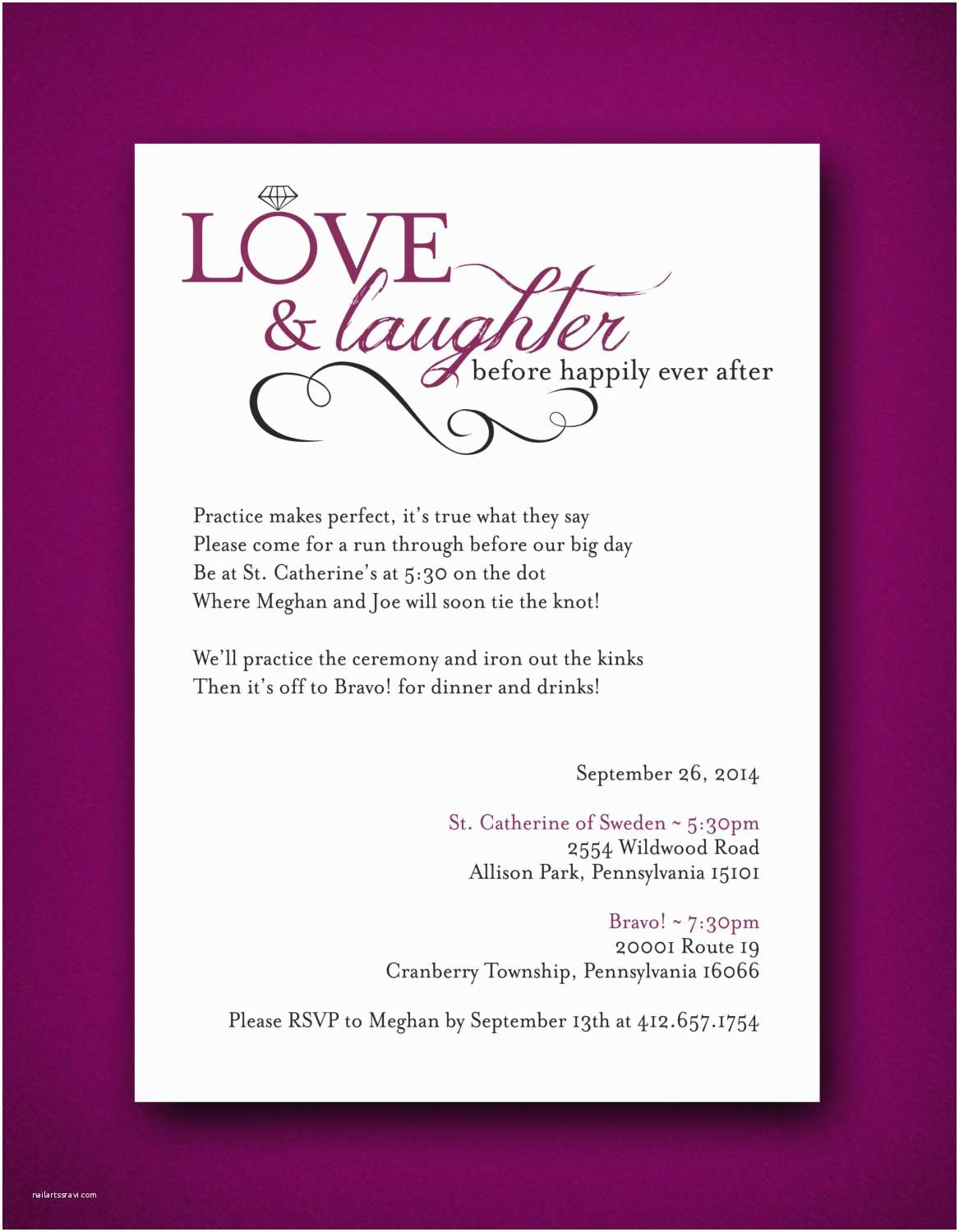 Happily Ever After Wedding Invitations Love & Laughter Before Happily Ever After Wedding