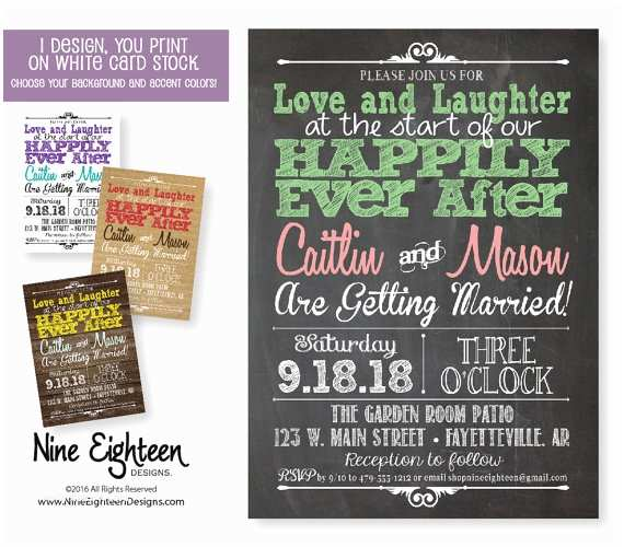 Happily Ever after Wedding Invitations Wedding Invitation Love Laughter Happily Ever by Nineeighteen