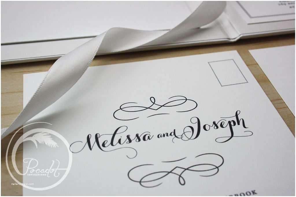Hardcover Wedding Invitations Black & White & Silver Foil Hardcover Boxed Wedding