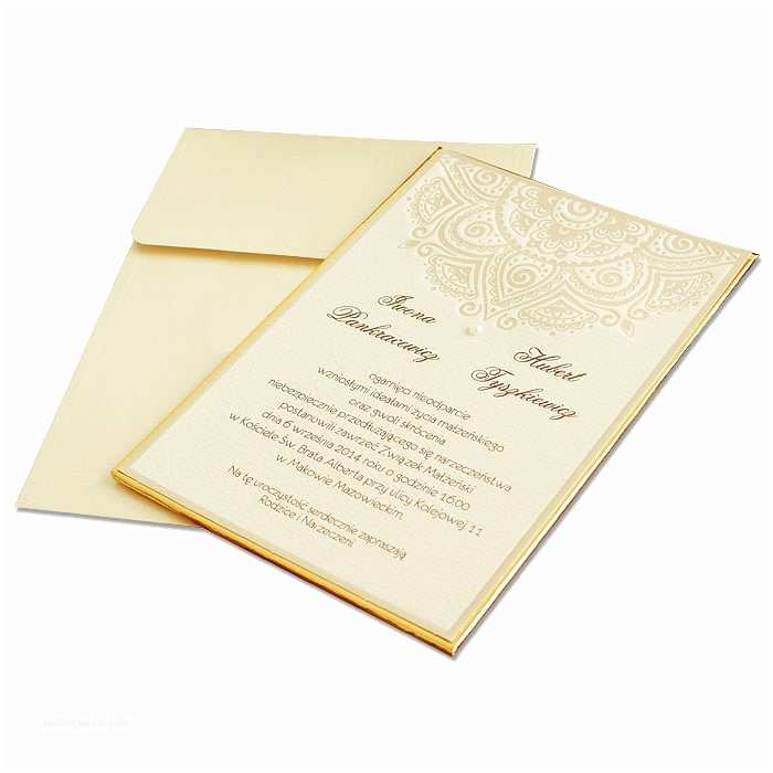Hardcover Wedding Invitations Hardcover Gold Frame Wedding Invitation with Pattern 3641