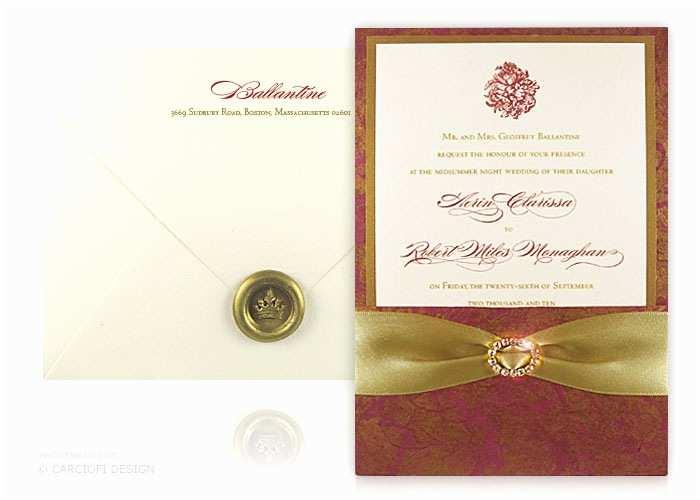 Hardcover Wedding Invitations Luxury Wedding Invitations Verona Red and Gold Hardcover