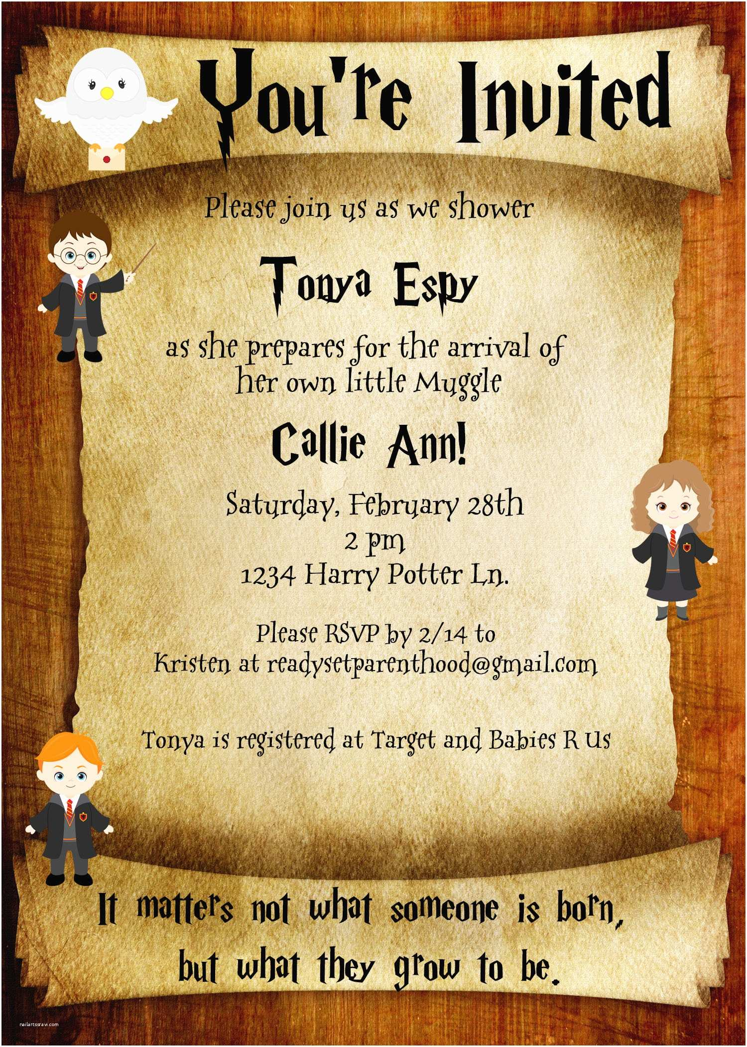 Harry Potter Baby Shower Invitations Baby Shower Invitation Templates Harry Potter Baby Shower