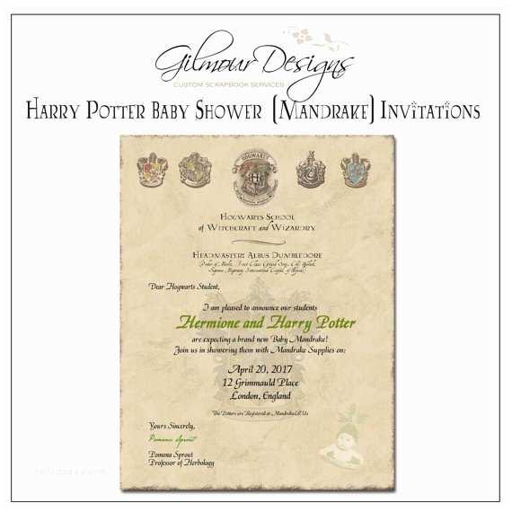 Harry Potter Baby Shower Invitations Personalized Printable Harry Potter Baby Mandrake Shower