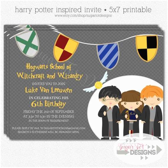 Harry Potter Birthday Invitations Harry Potter Birthday Party Invitation Wizard by