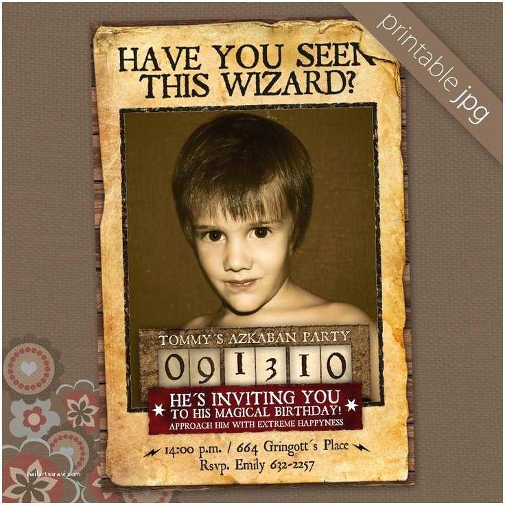 Harry Potter Birthday Party Invitations Azkaban Wizard Birthday Invitation Party